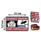Autocollant propriété sous vidéo surveillance alarme logo 363 sticker 4 stickers