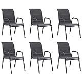 vidaXL 6X Chaises Empilables de Jardin Chaises de Salle à Manger d'Extérieur Fauteuils à Dîner de Patio Acier et Textilène Anthracite