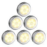 Dewanxin Lampe de Placard/Armoire LED,6pcs Lampes Armoire Veilleuse,Eclairage LED Détecteur de Mouvement avec Base Magnétique,pour Escalier Cuisine Vitrines Cabinet (Alimenté par Batterie)