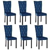 vidaXL 6X Chaise de Salle à Manger Velours Bleu Foncé Chaise de Cuisine Siège