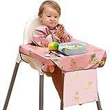 PewinGo Bavoir Bebe & Bavoir de Sevrage Avec Bavoir Manches, se Fixe à Votre Chaise Haute, Bavoirs pour Bébé avec Manches Imperméables, Confortables et Doux pour BLW Mess-6 mois à 3 ans (Rose)