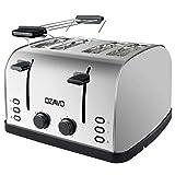 OZAVO Grille-pain, Toaster Multifonction Extra Larges avec Controle de Temperature et Plateau de Miettes Amovible, Acier Inoxydable (4 fentes)