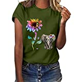 AFFGEQA Chic T-Shirt décontracté avec Impression de Lettres Chemisier à Manches Courtes Haut à col Rond T-Shirt Ample Chemisier Hauts Top Blouse