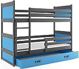 Interbeds Lit superposé Rico 200x90 avec Matelas sommiers et tiroir (Gris+Bleu)