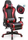 GTPLAYER Chaise Gaming Fauteuil de Bureau Ergonomique Chaise pour PC Gamer avec Repose-Pieds Télescopique Haut-Parleur Bluetooth Mécanisme Basculent et Coussins Lombaire et l'Appuie-Tête (Rouge)