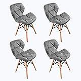 WV LeisureMaster 4PCS Cecilia Millmead inspiré Chaise PU rétro à Manger Chaise Chaise de Bureau, Papillon Type Dossier Chaise à Manger (Gris)