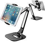 AboveTEK Support de Tablette en Aluminium à Bras Long pour iPad/iPhone/Samsung/ASUS et Autres Appareils de 4'à 11', Flexible à 360 °, Adapté au lit/Cuisine/Bureau