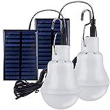 2 Lampe Camping Solaire Portable,TechKen Ampoule Solaire LED Lampe Urgence Solaire Lumière Jardin Lanterne Éclairage Solaire avec Panneau Ampoule à Crochet pour Camping,Pêche,Randonnée,Intérieur