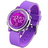 VenSten Montre numérique électrique pour enfants, étanche, luminescente, avec chronomètre, alarme, LED 7couleurs–Violet