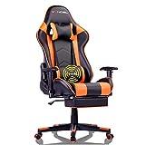 EVANCEL Gaming Chaise Chaises de Gamer Racing Chaise Ergonomique Inclinable Chaise de Jeu Fauteui de Bureau Pro Gamers avec Repose-Pieds Rétractable Support Lombaire (Orange-1)