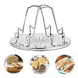 MeYuxg Porte-Toast Pliable en Acier Inoxydable, Grille-Pain portatif Simple, 4 Slice Toast Rack, Porte-Toast Polyvalent Pour Kitchen Extérieur Camping Activités