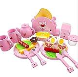 Jouets pour enfants permettant aux enfants de déve Jouet petit déjeuner et beurre grille pain set théière vaisselle à dîner pain en bois jouer nourriture et accessoires de cuisine Anniversaire des enf