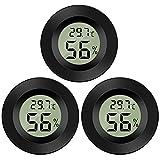 Thlevel Mini Digital LCD Thermomètre Hygromètre Température Humidité -50~70℃ 10%~99% RH Thermomètre Portable Thermo Hygromètre Indicateur pour Bureau Cuisine Humidors Incubateurs Reptiles (3 PCS - B)