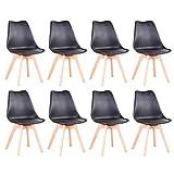 BenyLed Lot de 8 Chaises de Salle à Manger Modernes avec Assise Rembourrée et Pieds en Bois de Hêtre idéal pour Salle à Manger, Cuisine, Salon, Chambre (Noir)