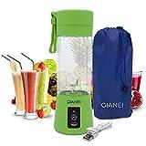 Gianei mini Mixeur Portable USB - Mini melangeur cuisine multifonctionnel, mélangeur à smoothie pour smoothies aux fruits et légumes avec étui de transport. 380 ml, 6 lames en acier inoxydable