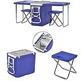 XALO 28L Glacière À roulettes - Table Pliante Camping 2 Chaises Ultralight Portable Réfrigérateurs Voiture pour Camping/Plage/BBQ/Pêche/Famille,Bleu