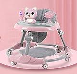 Réglable Trotteur, Activité Trotteur avec musique et amovible Jeu Plateau, Anti-Rollover pliant Walker for bébés 6-18 mois, idéal for les cadeaux d'anniversaire d'enfants liuchang20 ( Color : Pink )