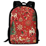 XCNGG Sac à dos d'impression plein cadre adulte Sac à dos décontracté Sac à dos Cartable Treated Red Christmas Large Capacity Travel Computer Backpack, Adult Printed Backpack, Anti Splash Student Scho