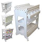 Monsieur Bébé ® Table à langer avec baignoire et rangements - 4 coloris - Norme NF EN 12221