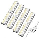 Maxuni LED Lampe de Placard Pack 4, Lampe LED Détecteur de Mouvement sans Fil Rechargeable par USB, Eclairage Placard, 3 Mode d'Eclairage, Bande Magnetique Adhésive pour Escalier Penderie Couloir Cave
