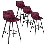 WOLTU 4 X Tabouret de Bar Bistro Chaise de Bar Assise rembourrée en Velours avec Pieds et Repose-Pieds en métal,Bordeaux BH143bd-4