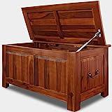Deuba Coffre boîte Rangement Bois Malle 85x44x48cm Bois Tropical Acacia