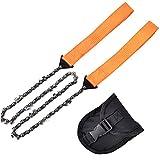FANKUNYIZHOUSHI Chaîne de tronçonneuse manuelle de 61 cm pour couper du bois, scie à chaîne portable de survie avec 2 cordes pour l'extérieur et le camping (Orange)