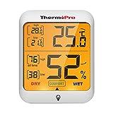 ThermoPro TP53 Thermomètre hygromètre professionnel pour intérieur, maison, mesureur d'humidité et de la température ambiante, numérique, avec touche rétro-éclairée
