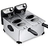 Deuba - Friteuse électrique 2x3 litres 2200 Watt - Cuve amovible Acier inoxydable Zones froides Complètement démontable Contrôle de la température