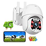 Caméra De Vidéosurveillance en Plein Air Sécurité IP Security 4G LTE Couleur Night Vision De Nuit 30m Haute Définition 1080p Dôme GSM PTZ Caméra,Surveillance (Size:Camera+64G)