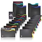 Amazy Protection Cartes de crédit Anti RFID (Lot de 20) avec étiquette Bagage – RFID Protection Carte avec Codage Couleur pour Cartes de crédit