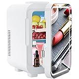 Mini Réfrigérateur 8L, Eclairage LED Unique et Miroir De Maquillage, Mini Réfrigérateur Silencieux 12V / 220V, avec Fonctions De Refroidissement et De Chauffage, Adapté aux Voitures et Aux Familles