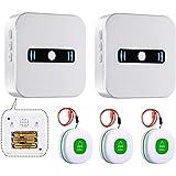 Daytech Bouton d'appel sans fil pour patients âgés, système d'alerte personnel à domicile, 2 récepteurs de batterie portables et 3 émetteurs SOS