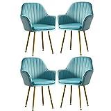 Exquis Flanelle Chaise De Salle À Manger Luxe Chaise Canapé Simple Girl Makeup-Dressing-Chair Lounge Tabouret À Ongles Créatif Fauteuils De Mode Lot De 4 Moderne (Color : Light blue)