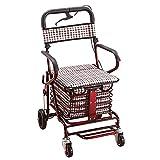 FGVDJ Chariot à provisions Caddie pour Personnes âgées, Marcheur, décontracté avec siège, Marcheur Pliant réglable en Trois étapes, Chariot à défilement de pêche Haut