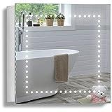 Neue Design Armoire de Toilette pour Salle de Bain avec Miroir Lumineux, antibuée, Prise pour Rasoir, détecteur de Mouvement et éclairage LED 50cm(H) x 50cm(l) x 15cm(P) C18