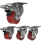 JXJ 4 Roues industrielles 40mm / 50mm roulettes Robustes 1000kg roulettes pivotantes silencieuses en Plaque PU avec Support en Acier de Frein roulement en Fer pour établi de Tramway de Transport