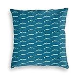 But why miss Housse de coussin carrée - Motif mammifères de l'océan - Tons bleus - Inspiration maritime - Pour canapé
