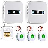 Daytech Bouton d'appel sans fil pour personnes âgées avec 2 récepteurs de batterie portables et 3 émetteurs SOS