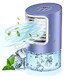 Climatiseur Portable, 3 en 1 Bureau Ventilateur, Mini Refroidisseur d'air Evaporatif, Humidificateur et Purificateur avec 3 Vitesses, 7 LED Couleurs pour Maison/Bureau/Camping (Purple)