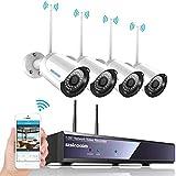 Kit de WiFi vidéo Surveillance sans Fil, SZSINOCAM Système de Sécurité 4CH 1080p Caméras Hydrofuge et Infrarouge Nocture,Intérieux/Extérieur,Accès à Distance,Antenne sans Fil améliorée (sans HDD )