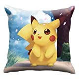 Double Side Cartoon Pokemon Printed Cushion Throw Pillows for Sofa Children Room Decoration Pikachu Back Chair Cushion Dropship - style2,40X40cm(with Corn)