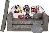 Pro Cosmo A14 Canapé-lit pour Enfant avec Pouf/Repose-Pieds/Oreiller, Tissu, Gris, 168 x 98 x 60 cm, Coton