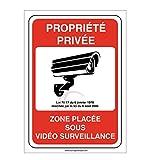 AUA SIGNALETIQUE - Panneau propriété privée Zone placée sous vidéo Surveillance 24H /24-150x210 mm, PVC 1.5mm