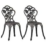 Casdl Lot de 2 chaises de bistrot en fonte d'aluminium Bronze