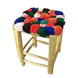 ARTIGIANATO VULCANO Tabouret en bois de peuplier avec assise en tissu, type Pom Pom