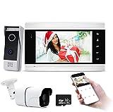 JeaTone Wifi 7'' Visiophone,Sonnette de Caméra 720P Filaire Vision Nocturne,Audio/Vidéo bidirectionnelle,IP65,Instantané mobile,Surveillance active,Déverrouillage à distance,Talk,Record
