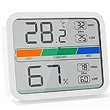 LIORQUE Mini Thermomètre Intérieur Hygromètre Numérique Moniteur de Température et d'Humidité avec la Conversion ℉/℃ Valeur Maximale et Minimale de la Température et de l'Humidité(Blanc)