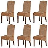 Lot de 6 housses de chaise de salle à manger en velours - Taille XL - En élasthanne - Avec bande élastique - Pour salle à manger, mariage, cérémonie, banquet - Camel