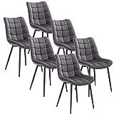 WOLTU 6X Chaise de Salle à Manger Chaise Design Moderne Assise en Velours Bien rembourrée Cadre en métal, Gris Foncé, BH142dgr-6